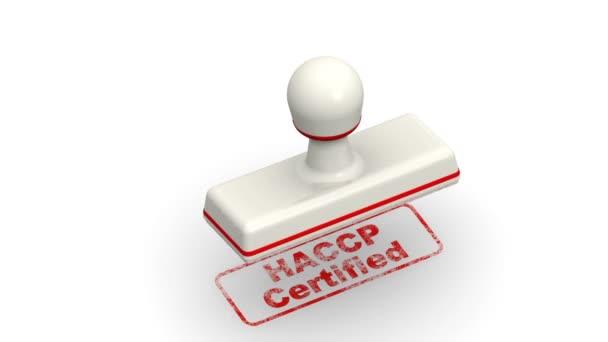 HACCP, certifikovaný. Razítka listy a červený otisk Haccp Certified (analýza a kritické kontrolní body nebo Haccp je systematické preventivní přístup k bezpečnosti potravin z biologických, chemických, Hazard a fyzikální nebezpečnost ve výrobních procesech)