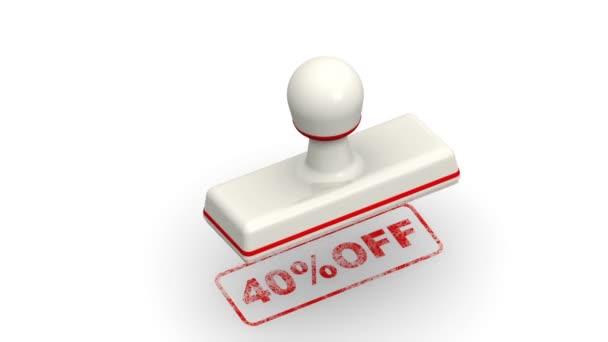 40 százalék ki. A bélyegző hagy egy piros Impresszum 40 % Off fehér felület. Felvételeket videóinak