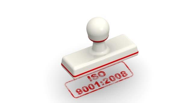 ISO 9001: 2008. Razítka listy červený otisk Iso 9001: 2008 na bílém povrchu. Záznam videa