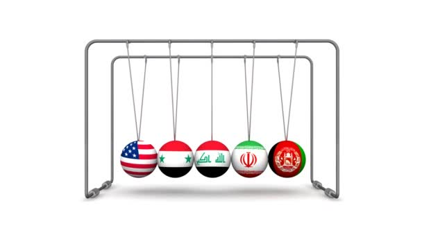 The United States as a destabilizing factor in geopolitics. Newtons Cradle with the image of the United States of America flag, Syria, Iran, Iraq and Afghanistan. Ball with flag of the United States of America brings balls from a state of equilibriu