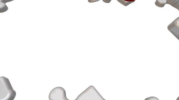 ISO 9001. Nápis na červené puzzle. Skládací bílá puzzle prvky a jeden červený s textem: Iso 9001. Záznam videa