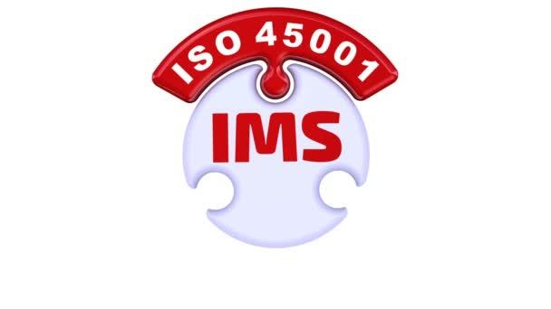 IMS. ISO integrovaný Management systém. Zaškrtávací značka v podobě puzzle. Nápis Ims. ISO 9001, Iso 14001, Iso 45001 o nové puzzle ve tvaru kruhu. Záznam videa