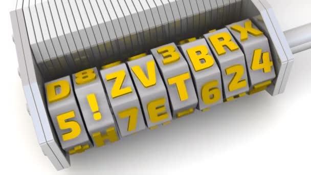 Internet security. Kód na kombinace visací zámek. Kombinace lock (wordlock) s písmeny nastavení kódu Internet Security na bílém povrchu. Záznam videa