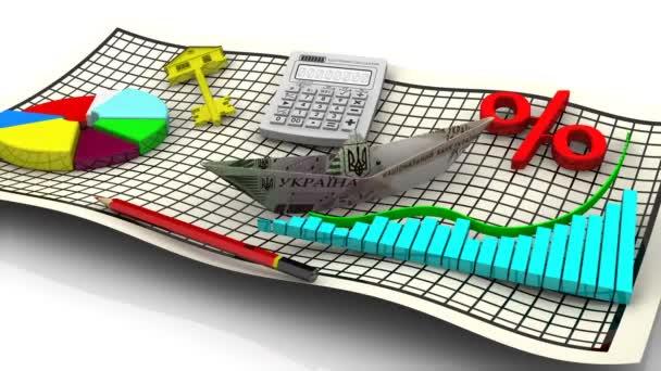 Gazdasági válság Ukrajna. Süllyedő papír csónak készült egy bankjegy 500 ukrán Hrivnya, diagramok, elektronikus számológép, piros ceruza, százalék jelképe, ábra és a arany kulcs ház a lapon. Felvételeket videóinak
