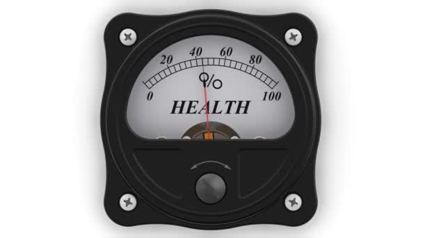 Az egészségügyi mutató akcióban. Az analóg kijelző mutatja egészségének mértékének százalékban. Felvételeket videóinak