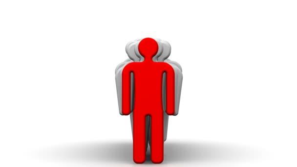 Leiter und sein Team. Gruppe von symbolischen Männern und dem roten Symbol des Chefs. Das Konzept der Teamarbeit. Video Footage