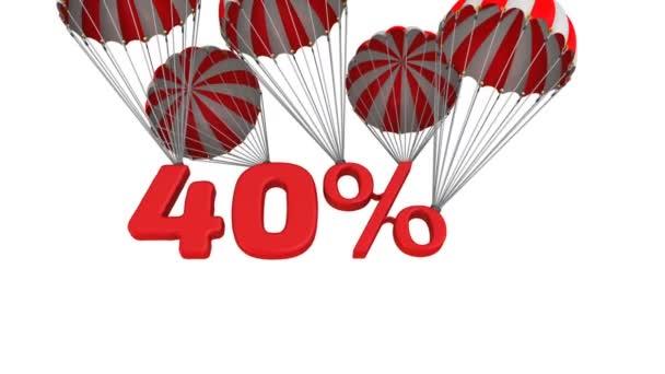 Čtyřiceti procentní slevy. Červené čtyřicet procent padá na padáku. Záznam videa