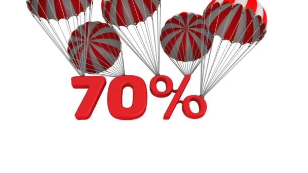 Siebzig Prozent Rabatt. die roten siebzig Prozent fallen am Fallschirm herunter. Videoaufzeichnung
