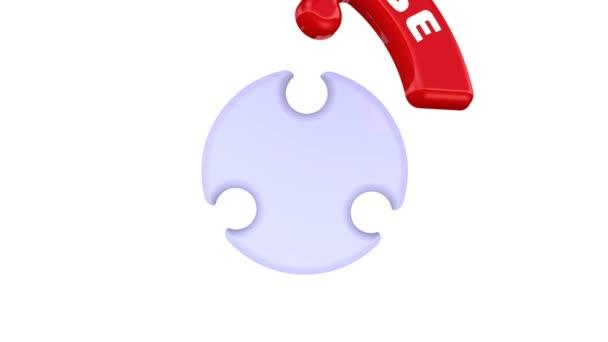 Wählen, entscheiden, abstimmen. Das Häkchen in Form eines Puzzles. Die Wörter CHOOSE, DECIDE, VOTE werden in Form eines runden Puzzles mit rotem Häkchen zusammengefügt. Videomaterial