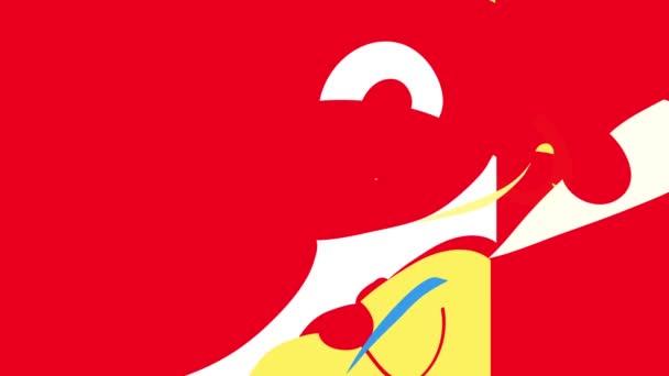 Odraz jarní váhy a snímek animace detailní medvěd nakreslené s různými tvary a barvami uvnitř rámu usmívání a zobrazování polovinu jeho obličeje s červeným nosem asymetrické uši a šilhání očí