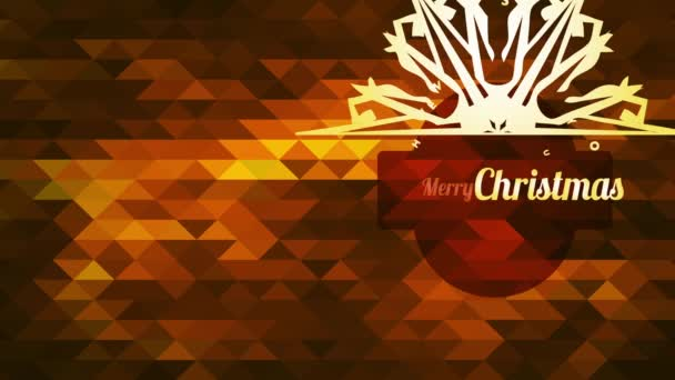 Inercial Motion with speed Ramping Of Merry Christmas Satisfied New Year Symbol With a Flake With Pointy Spikes Over Crimson Abstraction Scene With 3D Polygons