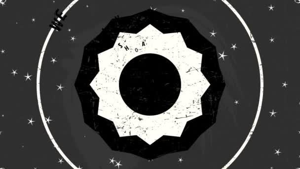 Lineáris Scaling Animation Rock and Roll Boldog karácsonyt és vidám új évet hirdetés Chic Mikulás a fekete táblán