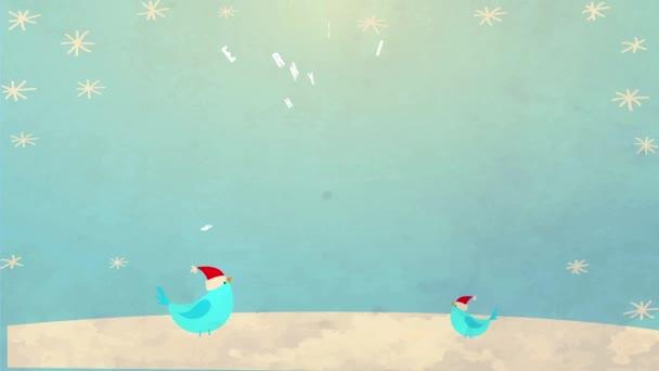 Tavaszi ugráló kaotikus mozgás nyaralás Eladó Vintage hirdetés hópehely át táj Illusztráció Kívánj boldog karácsonyt és boldog új évet