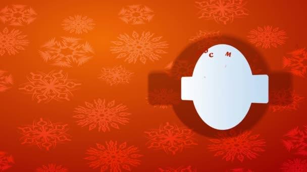 Egyszerű elemek tehetetlen mozgása Karácsonyi és szilveszteri képeslap Ovális jelöléssel a Gradient Orange háttér felett lebegő egyedi pehely vizuális