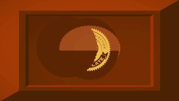 Motion of Elements Forming Extra jemný čokoládový výběr koncepce Umění s 3D efektem Kakaová tyčinka a zaoblené ikony se srdcem tvarované Candy