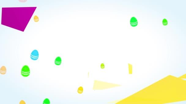 Bouncing Flat Elements Forming Humorvolle fröhliche Ostern Embryo Hunt Ankündigung mit Zierrosa Hasenohren und Gold Polygon Geometrische Formen