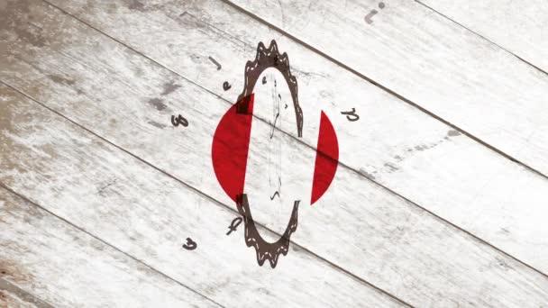 Lineáris ugrál és forog animáció forró és ízletes minőségi kávé tökéletes bemutatása a Vintage névjegykártya hullámos ikon felett fa háttér