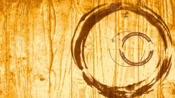 Skalieren Einfache Verlangsamung mit Frühlingseffekt Animation von warmen und geschmackvollen Kaffeezeichen für Cafés mit Retro-rundem Symbol und Typografie über blonder Holztextur
