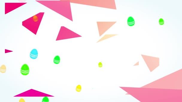 Lineare Skalierung Animation des lächelnden Osterfestes Geschrieben mit schlanker Satin-Typografie Forming Embryo Shape With Letters Border With 3D Conceptual Layers