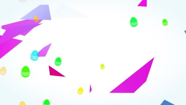 Bouncing Flache Elemente Forming Disco Fancy Frohe Ostern Empfang Postkarte mit Magenta und Türkis Farbschrift und 3D-Polygon dekorative Schichten