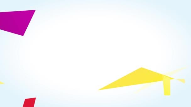 Bewegung der Elemente Forming Playful Happy Easter Egg Hunt Ankündigung mit dekorativen rosa Hasenohren und gelben Polygon geometrischen Formen