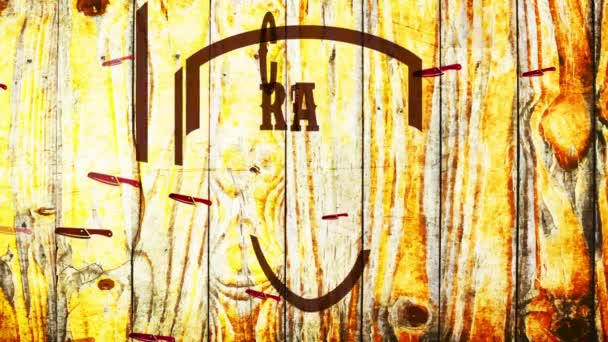 Inertial Bounce And Spin Animation Of Craftsmanship Metzgerei Store Klassisches Siegel Mit Wild Western Teil Und Besteck Über Holzszene Mit Zerbrochenem Lack