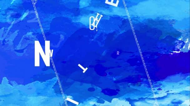 Lineáris ugrál és forog animáció forró téli eladó vékony fehér betűkkel keresztezett nyilak között kék háttér karácsonyi ajándékok idő
