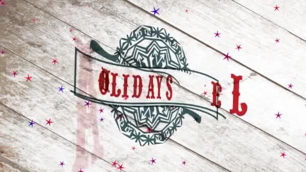 Inerciális ugrál és forog Animation of Frost szezon értékesítése karácsonyra és újévi ünnepek törzsi pelyhek szalaggal át fa háttér