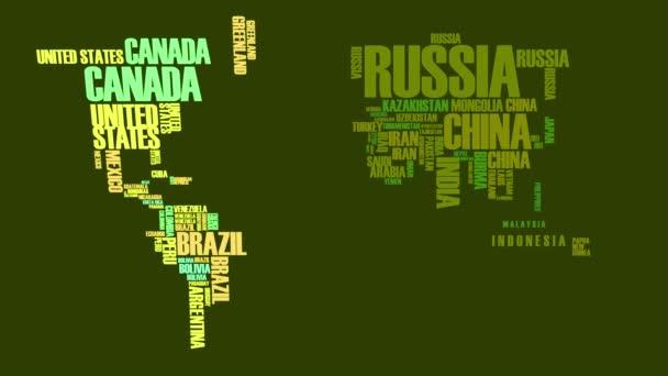 Speed Ramping Of Elements Of Cool World Map Hergestellt aus Wörtern, die durch Verdrehen von Kontinenten zusammengesetzt wurden, geformt aus Ländernamen mit einem einzigartigen Farbton wie durch eine grüne polarisierte Brille gesehen