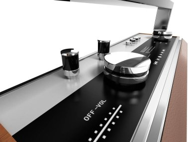 Retro radio isolated on white background 3d