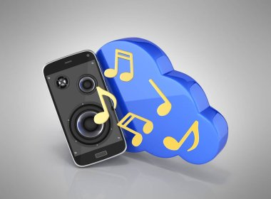 Musical smartphone Mobile phone music app Cellphone and loudspeakers with cloud Concept of cloud storage on grey gradient background 3d