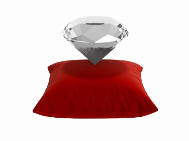 diamond on a pillow without shadow on white background 3d render