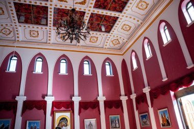 China, Heihe, July 2019: Interior of an Orthodox Church in a Russian village outside the city of Heihe
