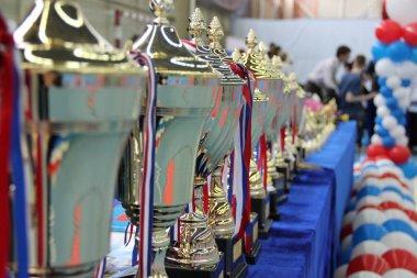 Kupalar Tekvando kazananları ödüllendirmek için masada