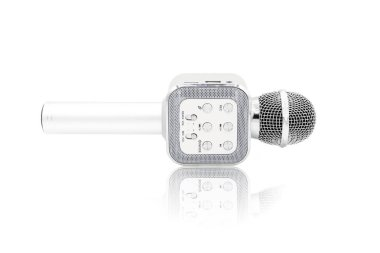 wireless microphone close up isolated on white background.This had clipping path