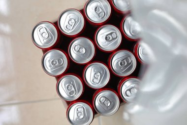 close Up of a group of aluminium cans.Cover aluminum cans. Aluminum cans. Top view. Aluminum cans.