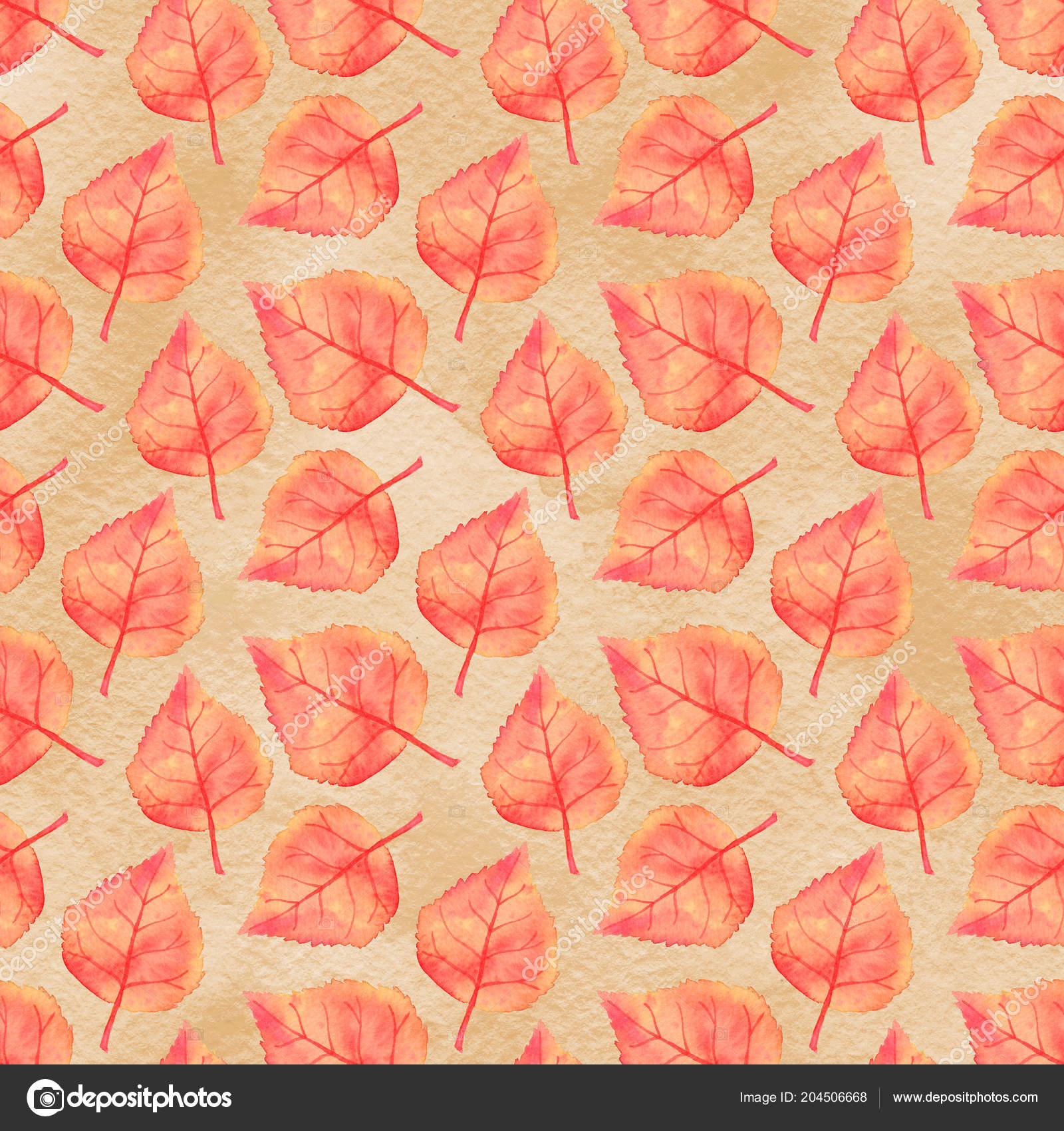 Autumn Linden Leaf Seamless Pattern Fall Harvest Watercolor