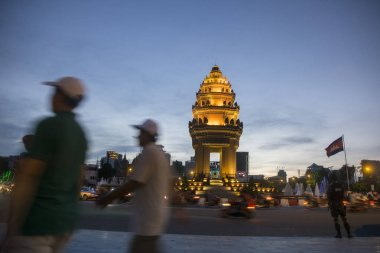 Independence Monument at Sihanouk Boulevard in city of Phnom Penh of Cambodia