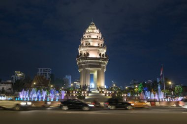 view of Independence Monument at Sihanouk Boulevard in city of Phnom Penh of Cambodia