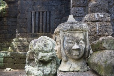 Stone carving sculpture at the Khmer Temple of Prasat Kuha Nokor south of the city of Kampong Thom of Cambodia
