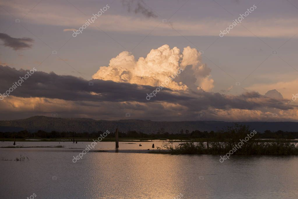 Cambodia, Anlong Veng - November, 2017: The Ta Mok Lake at the Town of Anlong Veng in the province of Oddar Meanchey in Northwaest Cambodia.