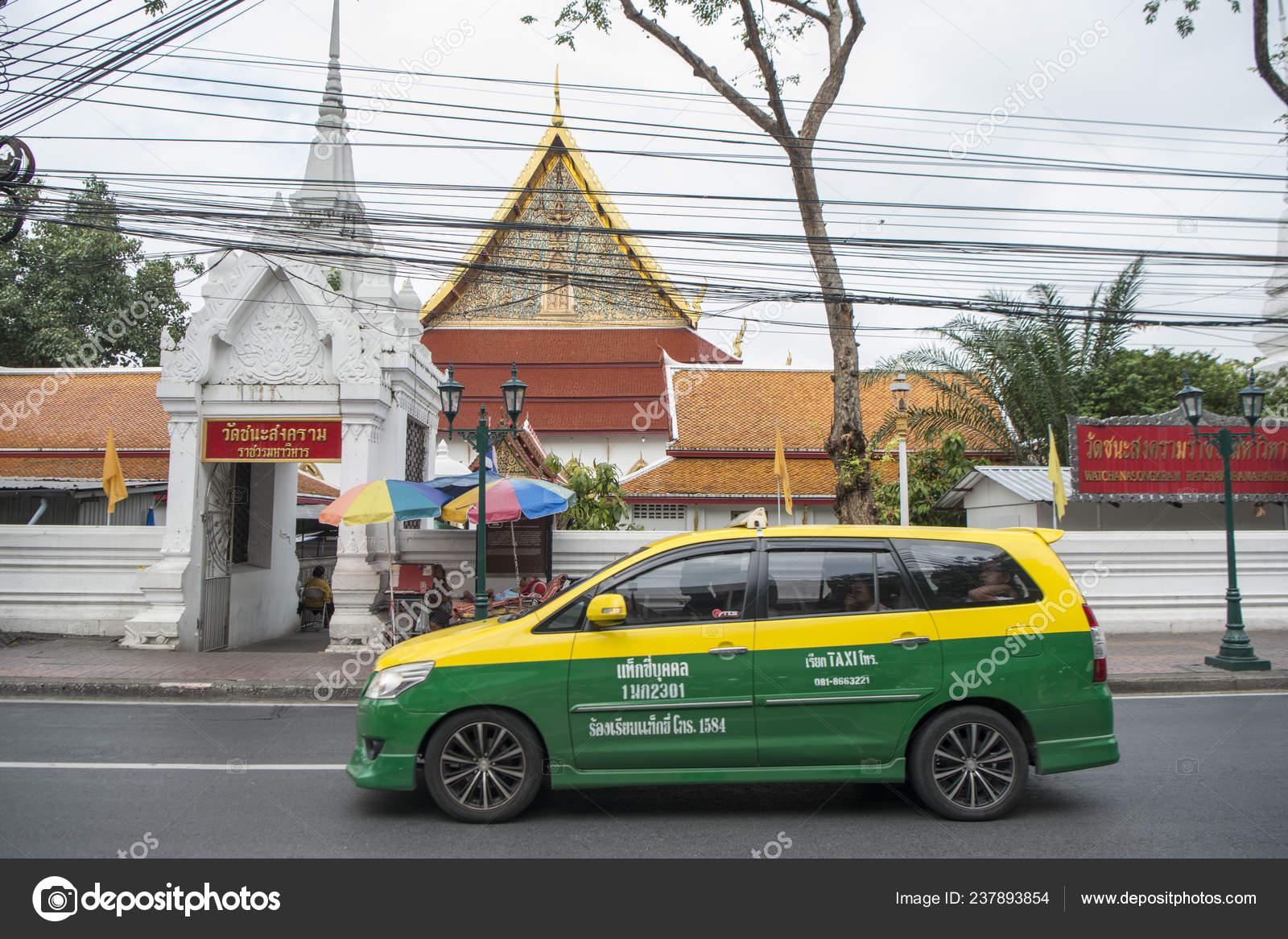 Taxi Meter Front Wat Chanasongkhram Ratchaworamahawihan Temple