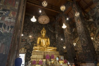 the golden Buddha at the Wat Suthat Temple in Banglamphu in the city of Bangkok in Thailand in Southeastasia.  Thailand, Bangkok, November, 2018