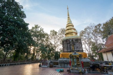 the Temple Wat Phra That Chom Kitti in the town of Chiang Saen at the mekong River in the golden triangle in the north of the city Chiang Rai in North Thailand.   Thailand, Chiang Sean, November, 2019