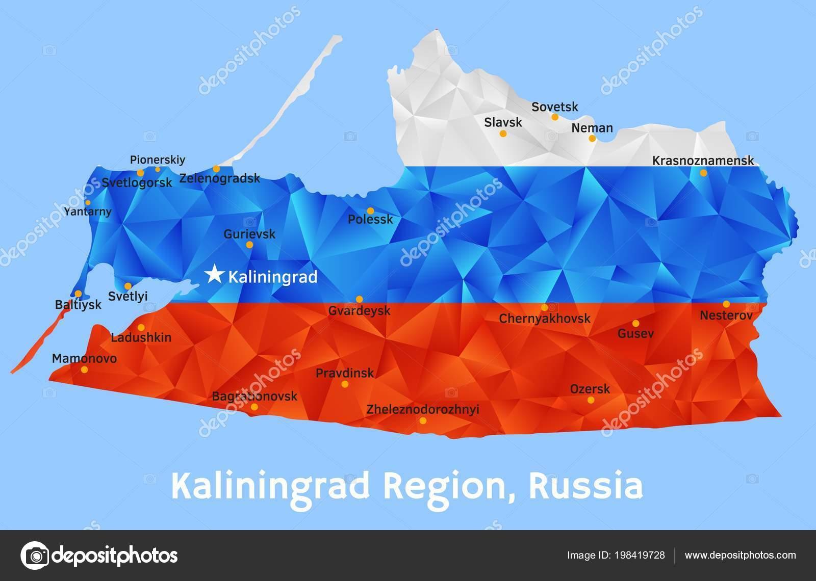 Vector Geometric Polygonal Map Of Kaliningrad Region Russia