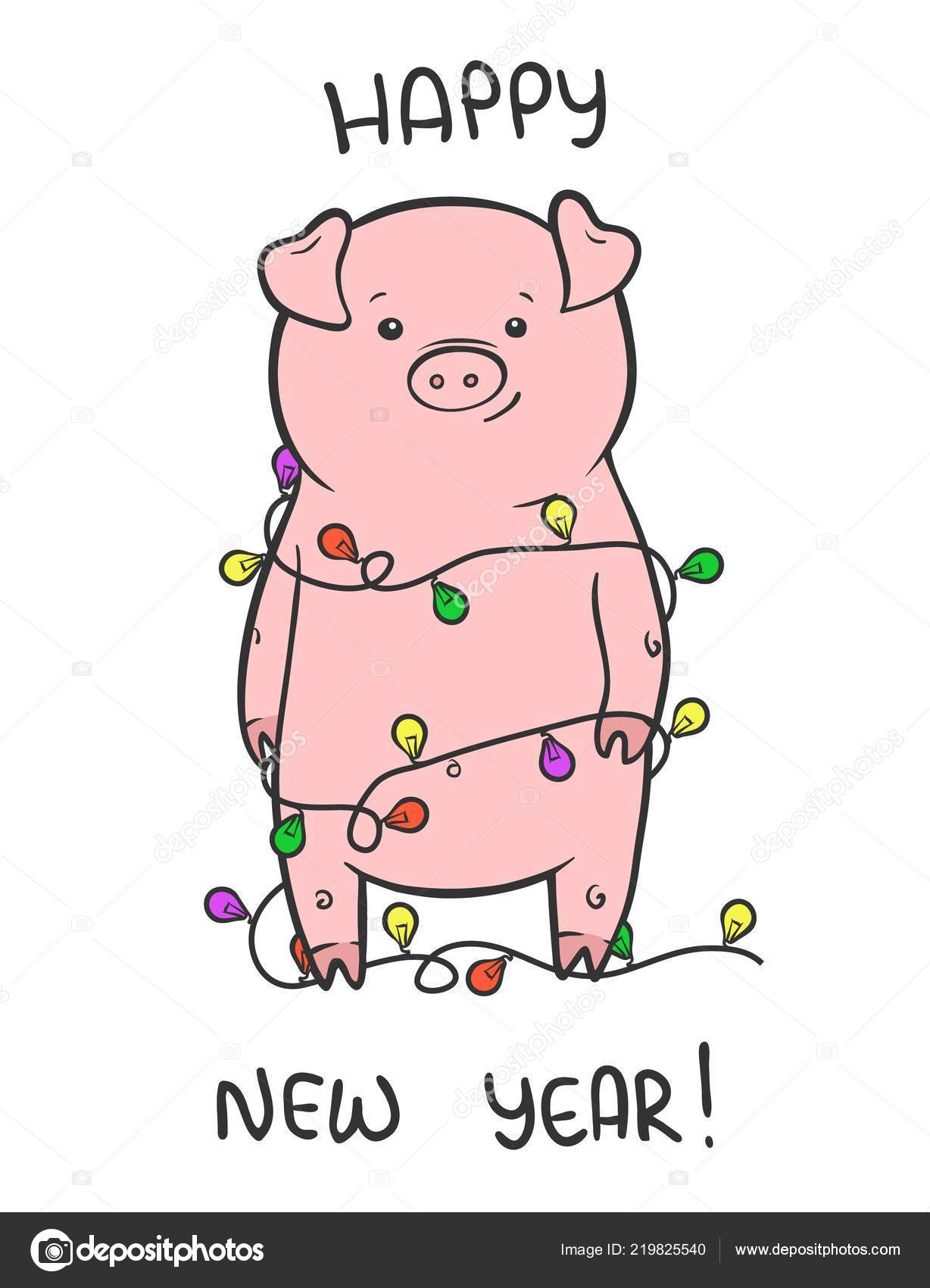 Happy New Year cute vector illustration with funny piglet — Stock ...