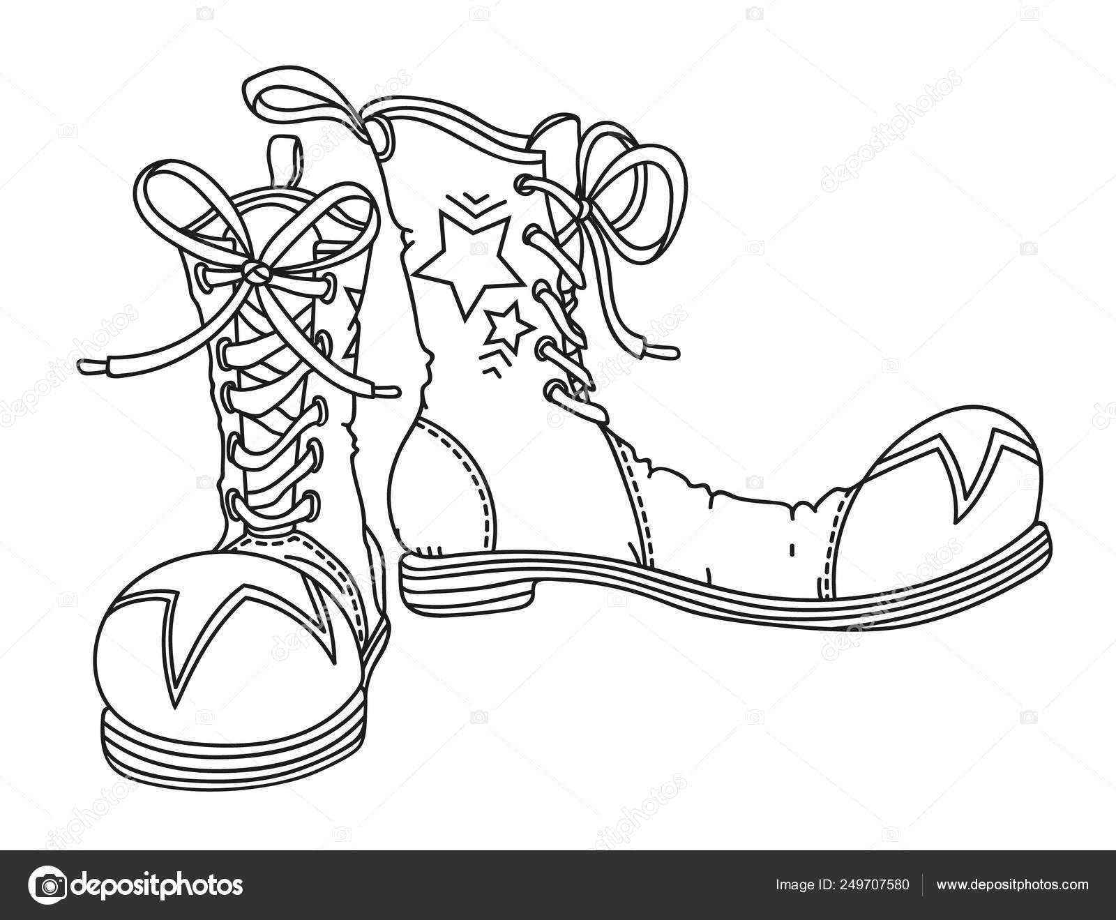 Zapatos De Payasos Ilustración Vectorial De Contorno