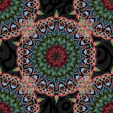 Luxury motley seamless pattern with abstract vector elements. Pink, green and red pattern on black background.