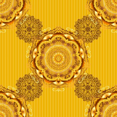 Vector seamless background. Colored patterns antique. Floral ornament in orange, yellow and green colors on a black background.