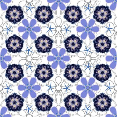 Vintage design with motley ornaments. Abstract vector seamless pattern with violet and blue ornaments.